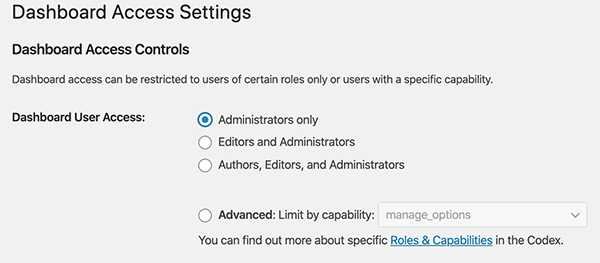 Where you'll select access options.