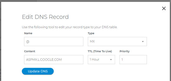Changing and updating an MX record with Domain.com