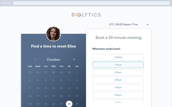 Hubspot's free meeting scheduling software for WordPress is used to book appointments.