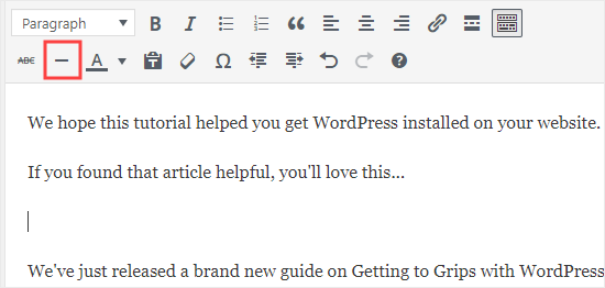 The horizontal line button in the classic WordPress editor