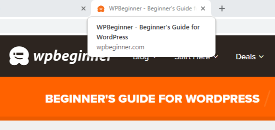 WPBeginner's tagline shown in the title tag