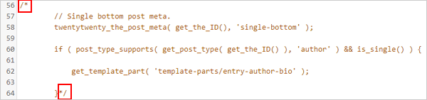 Section of commented out code from content.php template.