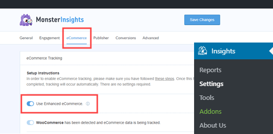 Switching on the eCommerce tracking in MonsterInsights