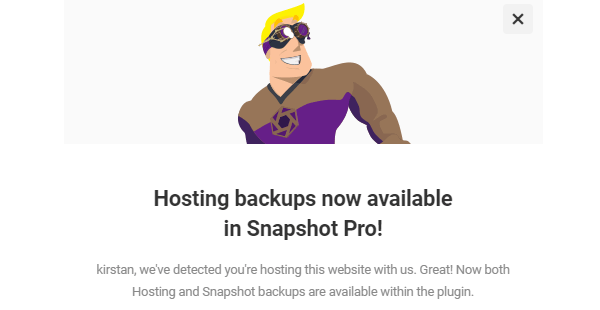 Screenshot of the hosting backups announcement from Snapshot