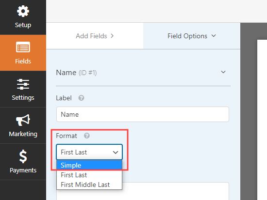Changing the name field in WPForms