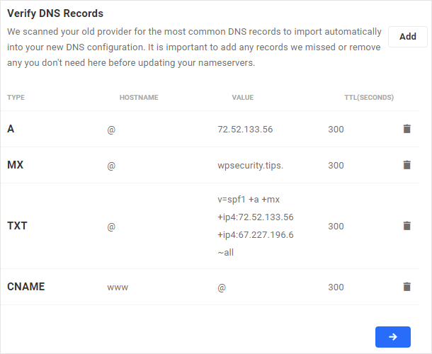 Verify DNS records screen displaying scanned DNS records from existing provider.