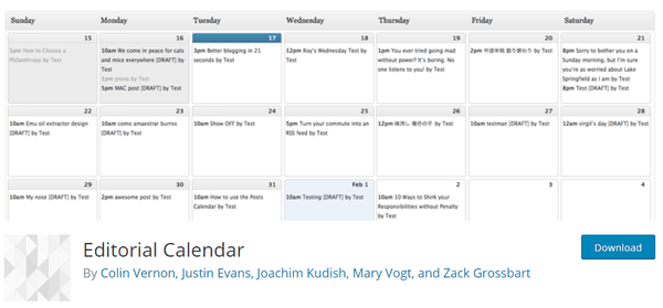 Screenshot of editorial calendar on wordpress.org