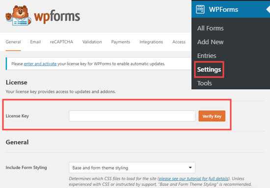 Entering your license key for WPForms