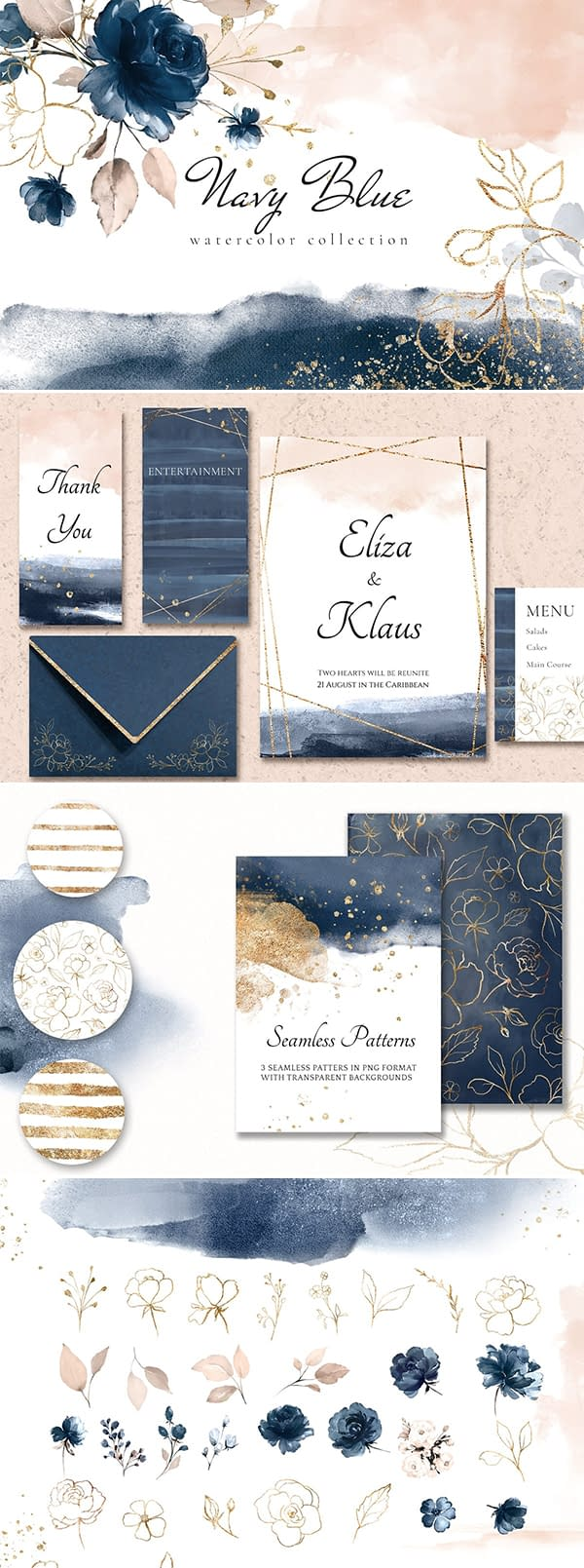 Navy Blue Watercolor Collection