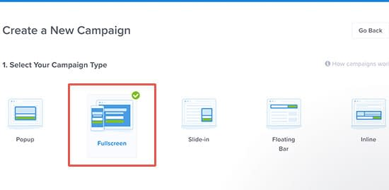Choose fullscreen as your campaign type