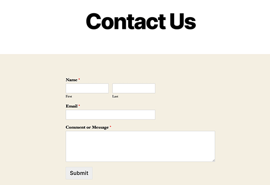 Contact page preview