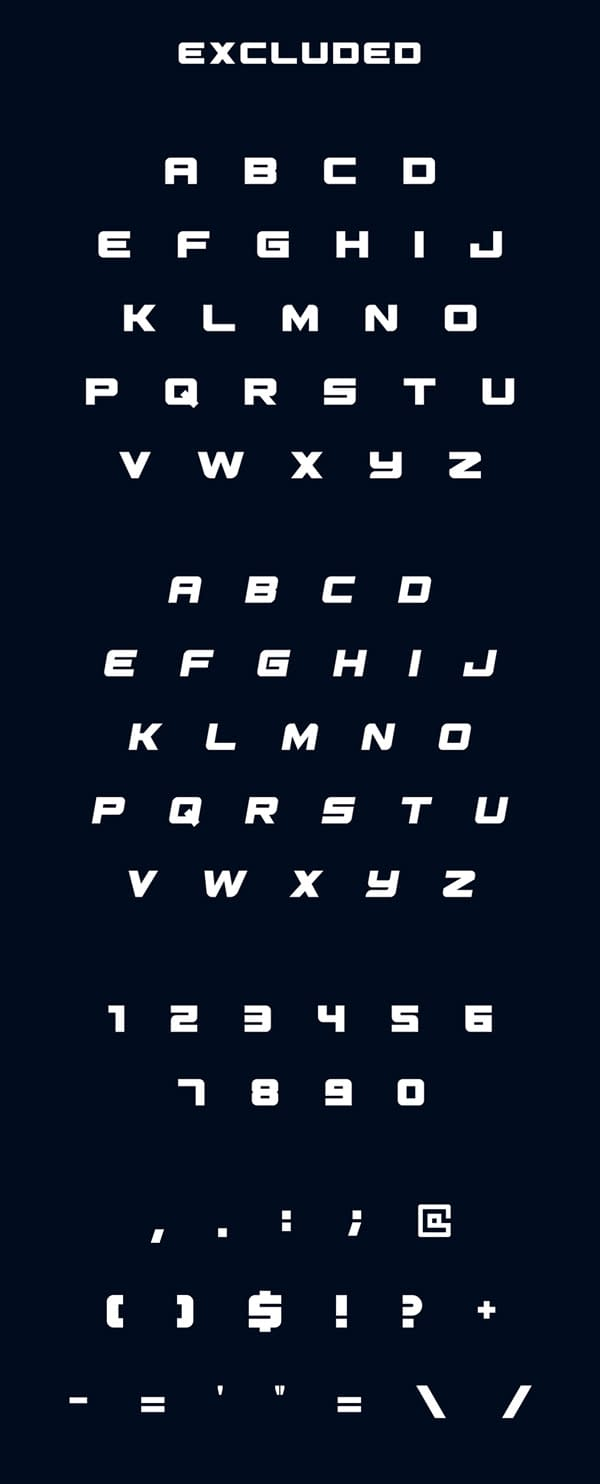 Excluded Free Font Letters