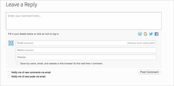 Jetpack Comments social feature for WordPress.