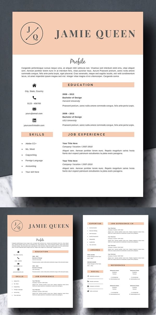 2 Pages Resume Template
