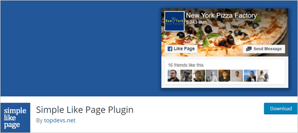 Simple Like Page Plugin for Facebook and WordPress integration.