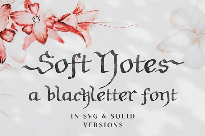 Soft Notes SVG Blackletter Font by Ana's Font