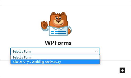 Selecting the RSVP form from the WPForms dropdown list