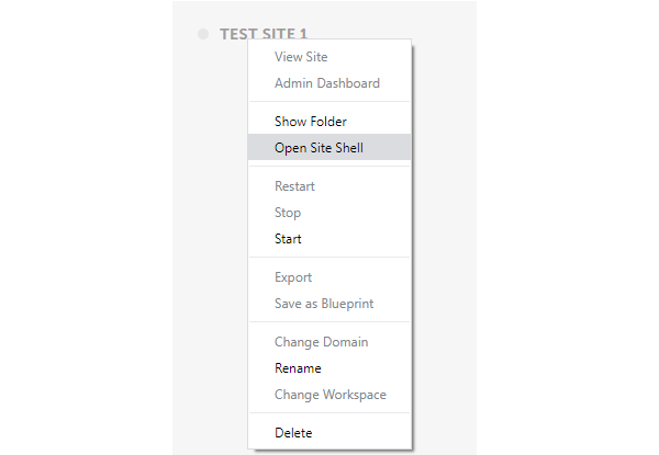 Showing how to access 'open site shell' to connect to initiate the SSH connection.