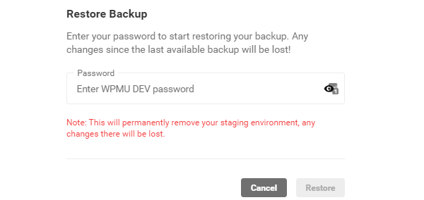 Screenshot of the warning message which states your staging will be deleted if you restore to your hosting backup.