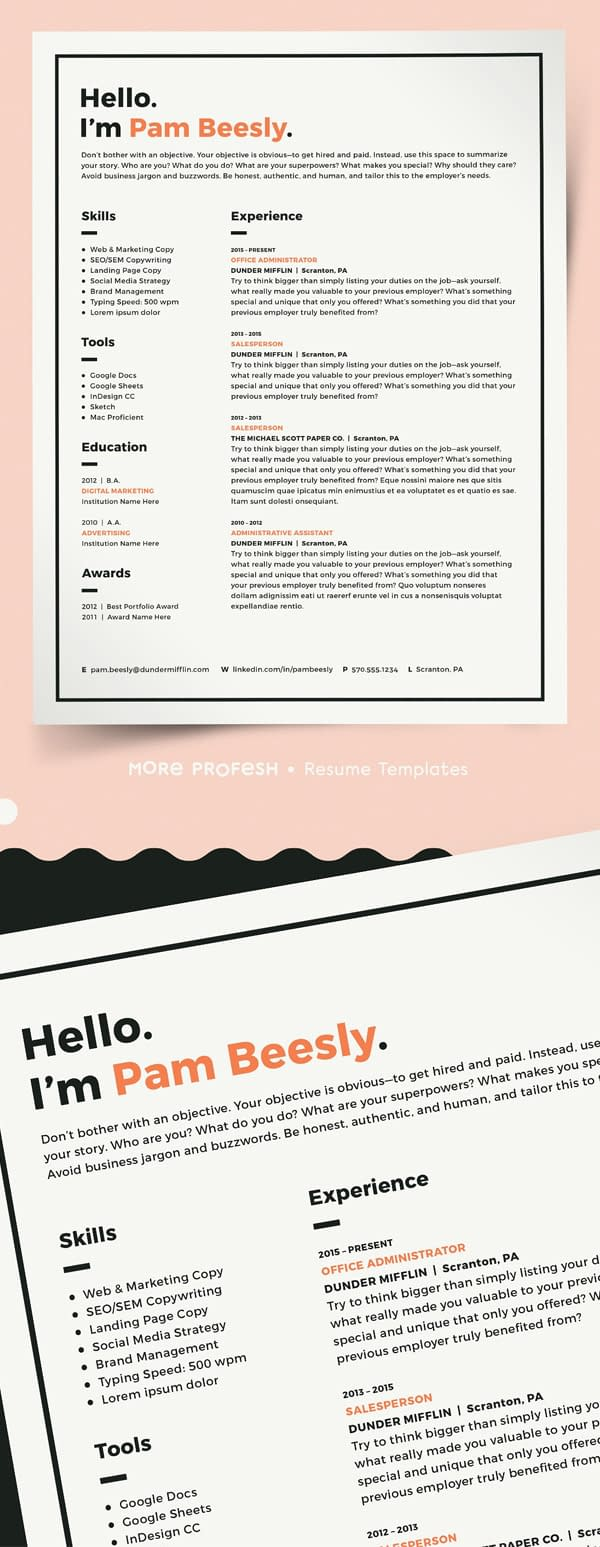2 Page Resume Template / CV