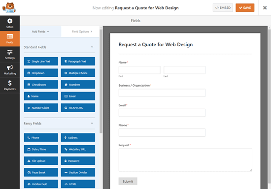 The default Request a Quote template in the WPForms form builder