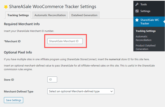 Linking the ShareASale WooCommerce Tracker plugin to your ShareASale account