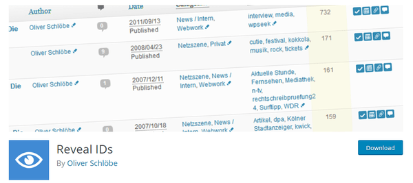 Screenshot of Reveal IDs from WordPress.org
