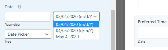 Selecting the date format from the Date Options dropdown
