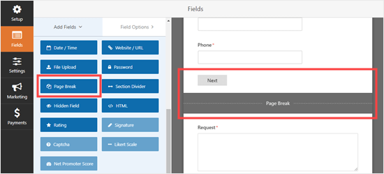Adding a page break in WPForms