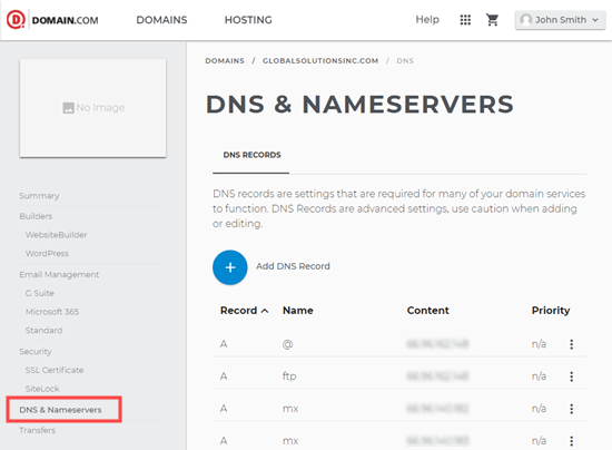 Viewing the DNS details for your Domain.com domain