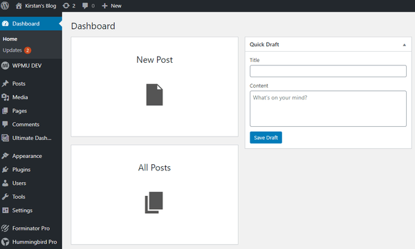 Screenshot of the dashboards with two new widgets: new post and all posts.