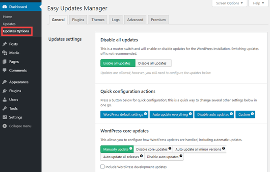 Configuring the settings for the Easy Updates Manager plugin