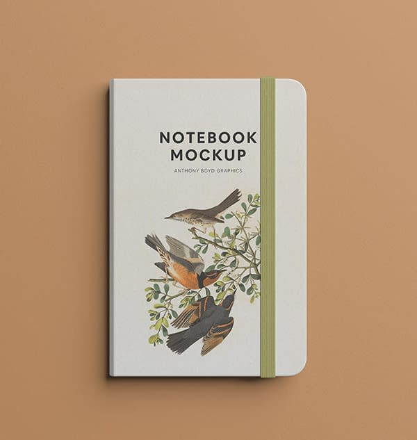 Free Notebook Mockup Top View