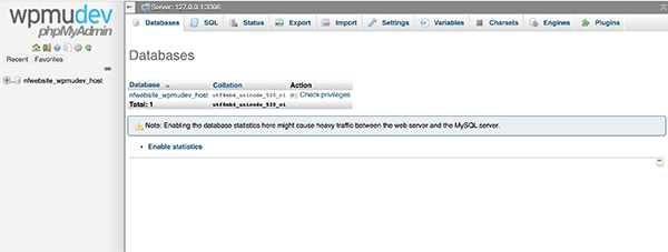 Example of what WPMU DEV phpMyAdmin looks like with our hosting.