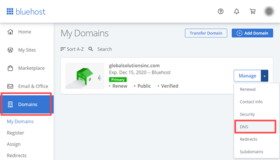 Managing the DNS settings for your domain in Bluehost