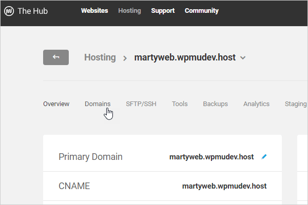 The Hub - Hosting menu.