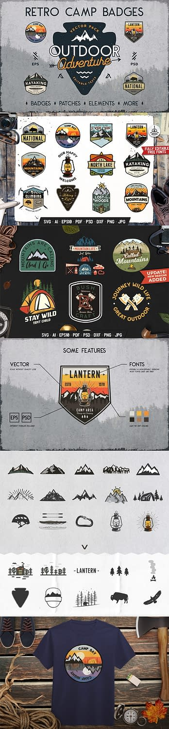 Retro Camping Badges & Outdoor Patches for Premium Members