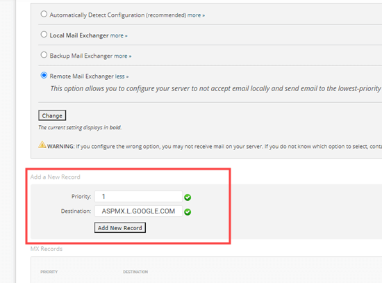 Adding your MX record in SiteGround