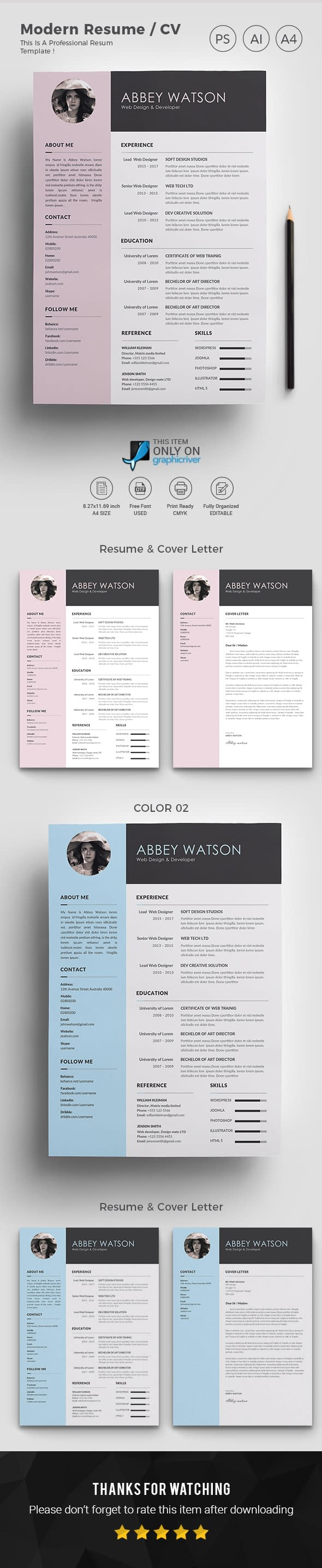 Resume Word Template / CV Template