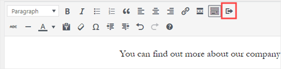 The Insert Button icon on the right hand side of the classic editor's toolbar