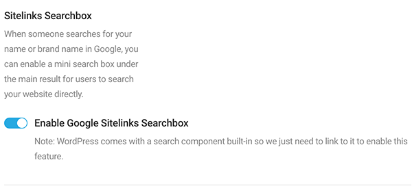 Sitelink search box enabaling.