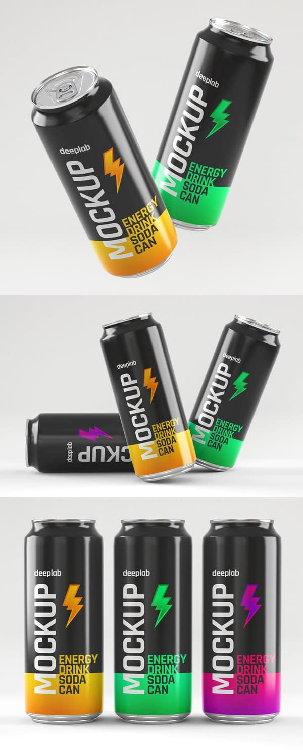 Glossy Soda Can Mockup Set