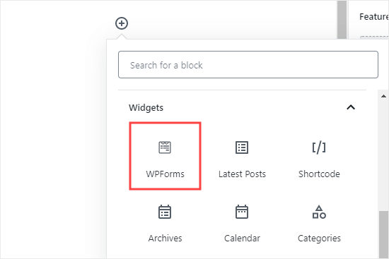 Adding the WPForms block to your page or post