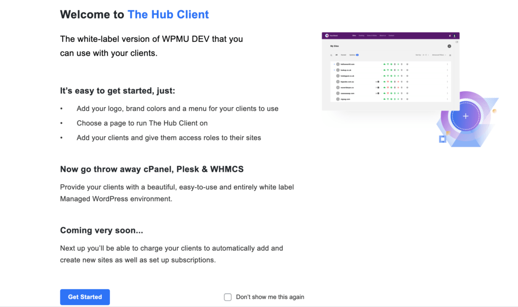 The Hub client welcome screen.