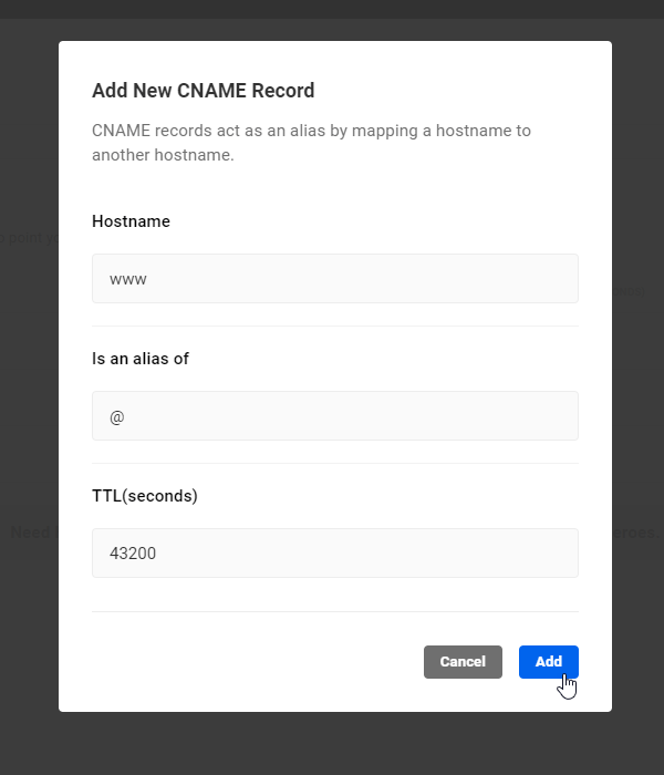 Add New CNAME Record screen