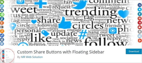 Custom Share Buttons with Floating Sidebar plugin for WordPress