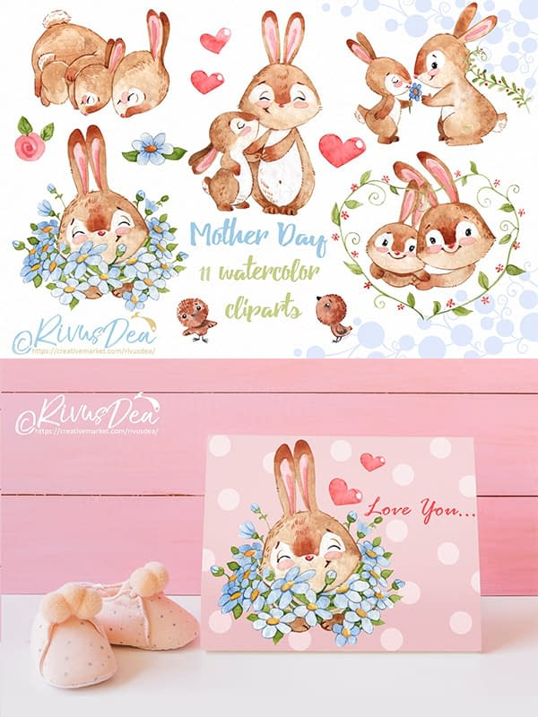 Bunny and Mom Clipart Set