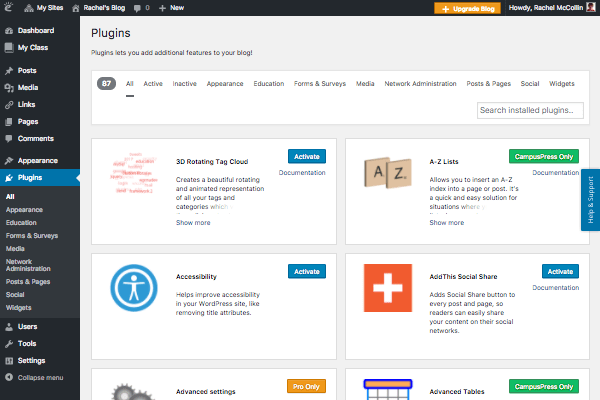 A look at some of the Edublogs plugins