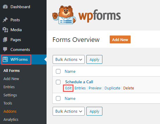 Editing a form you've already created in WPForms