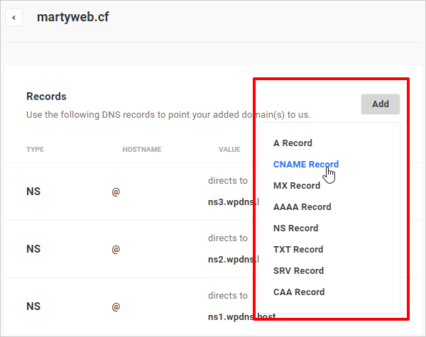 DNS Records dropdown menu list.